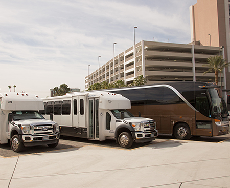 Lineup of Production Transportation Shuttle Service Buses